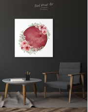 Red Moon with Flower Canvas Wall Art - Image 5