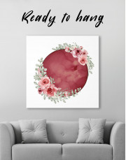 Red Moon with Flower Canvas Wall Art
