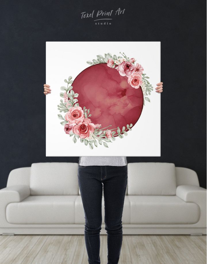 Red Moon with Flower Canvas Wall Art - Image 6