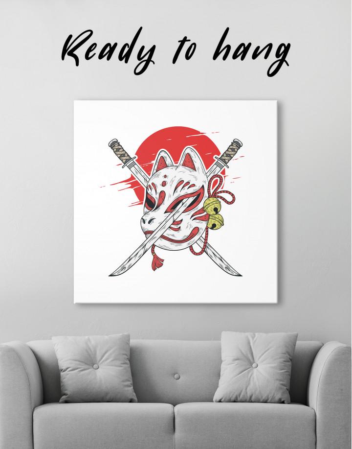 Kitsune Mask Canvas Wall Art
