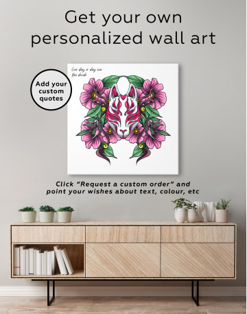 Japanese Fox Mask With Flowers Canvas Wall Art - image 3