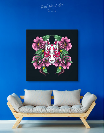Japanese Fox Mask With Flowers Canvas Wall Art - image 4