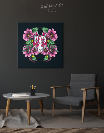Japanese Fox Mask With Flowers Canvas Wall Art - image 1