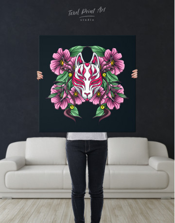 Japanese Fox Mask With Flowers Canvas Wall Art - image 6