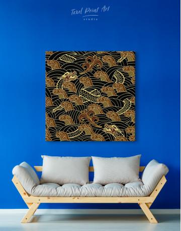Chinese Dragon Seamless Pattern Canvas Wall Art - image 2