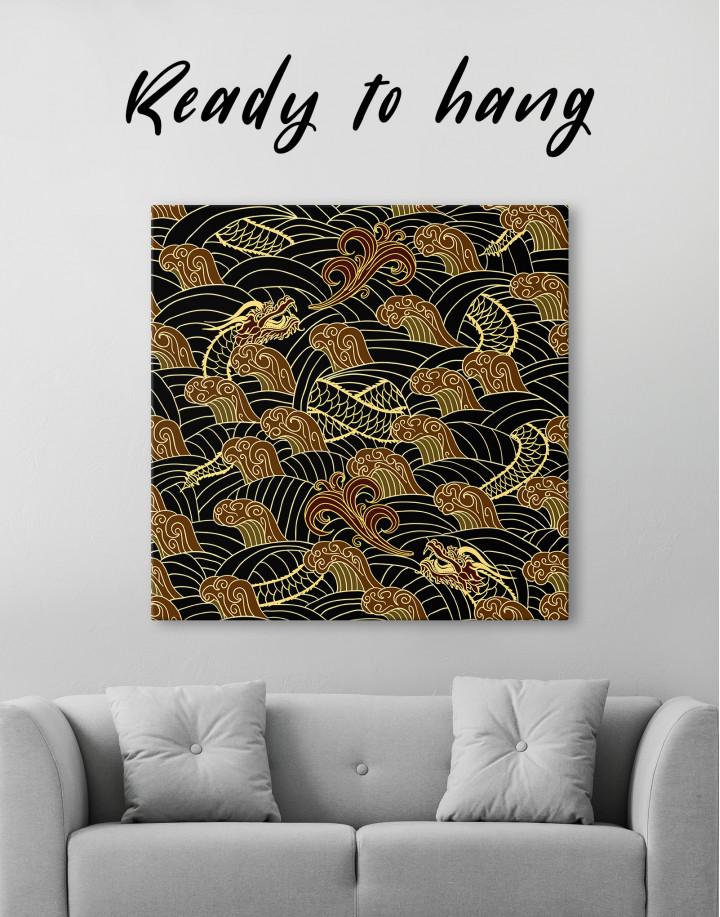 Chinese Dragon Seamless Pattern Canvas Wall Art