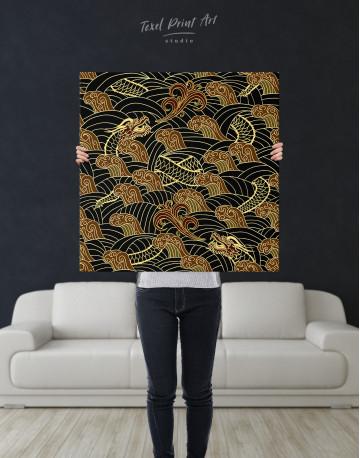 Chinese Dragon Seamless Pattern Canvas Wall Art - image 6
