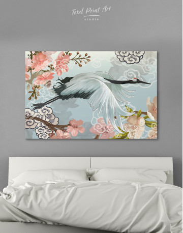 Flying Japanese Crane Canvas Wall Art