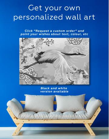 Flying Japanese Crane Canvas Wall Art - image 7