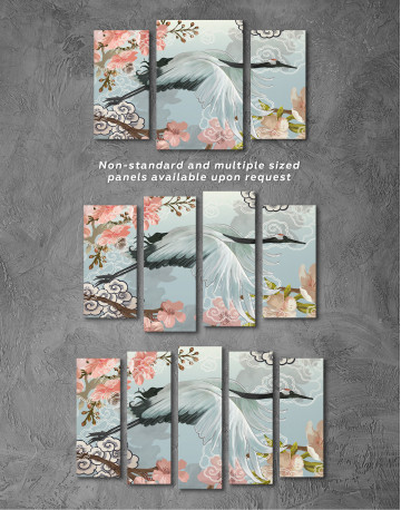Flying Japanese Crane Canvas Wall Art - image 5