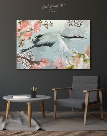 Flying Japanese Crane Canvas Wall Art - image 4