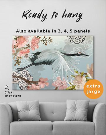 Flying Japanese Crane Canvas Wall Art - image 3