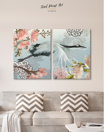 Flying Japanese Crane Canvas Wall Art - image 1