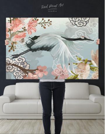 Flying Japanese Crane Canvas Wall Art - image 9