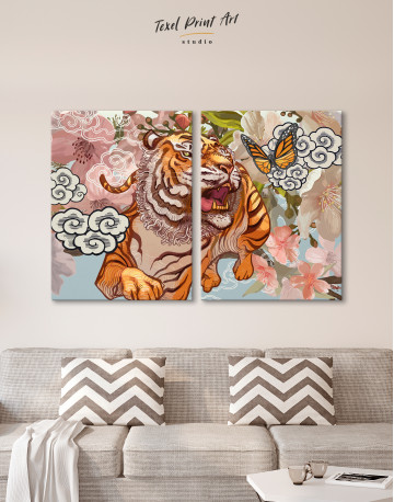 Chinese Tiger Painting Canvas Wall Art - image 1