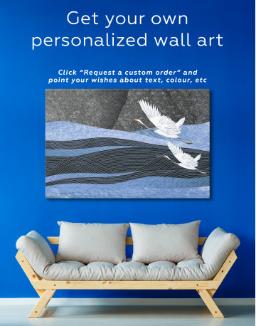 Chinese Crane Painting Canvas Wall Art - image 3