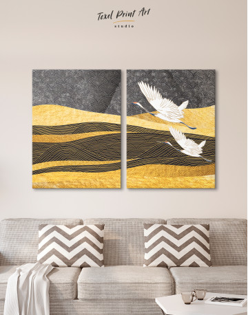 Chinese Crane Painting Canvas Wall Art - image 1