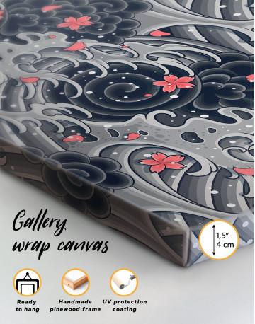 Japanese Wave With Sakura Canvas Wall Art - image 5