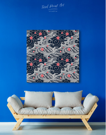 Japanese Wave With Sakura Canvas Wall Art - image 3