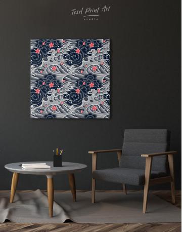 Japanese Wave With Sakura Canvas Wall Art - image 1