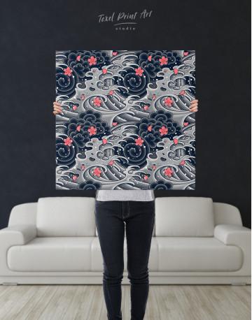 Japanese Wave With Sakura Canvas Wall Art - image 6