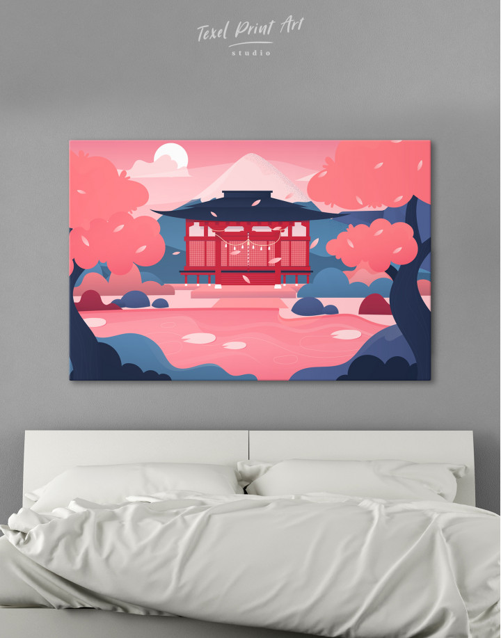 Pink Japanese Temple Canvas Wall Art