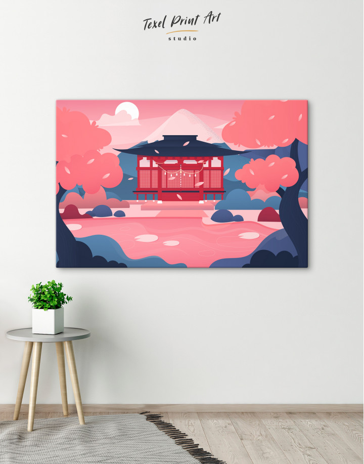 Pink Japanese Temple Canvas Wall Art - image 6