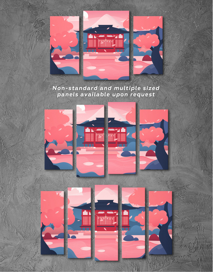 Pink Japanese Temple Canvas Wall Art - image 5