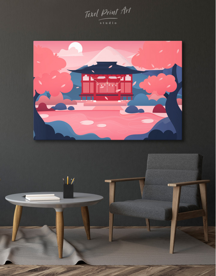 Pink Japanese Temple Canvas Wall Art - image 4
