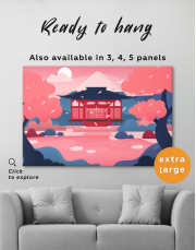 Pink Japanese Temple Canvas Wall Art - image 3