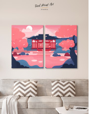 Pink Japanese Temple Canvas Wall Art - image 10