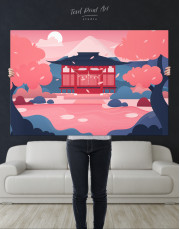 Pink Japanese Temple Canvas Wall Art - image 9