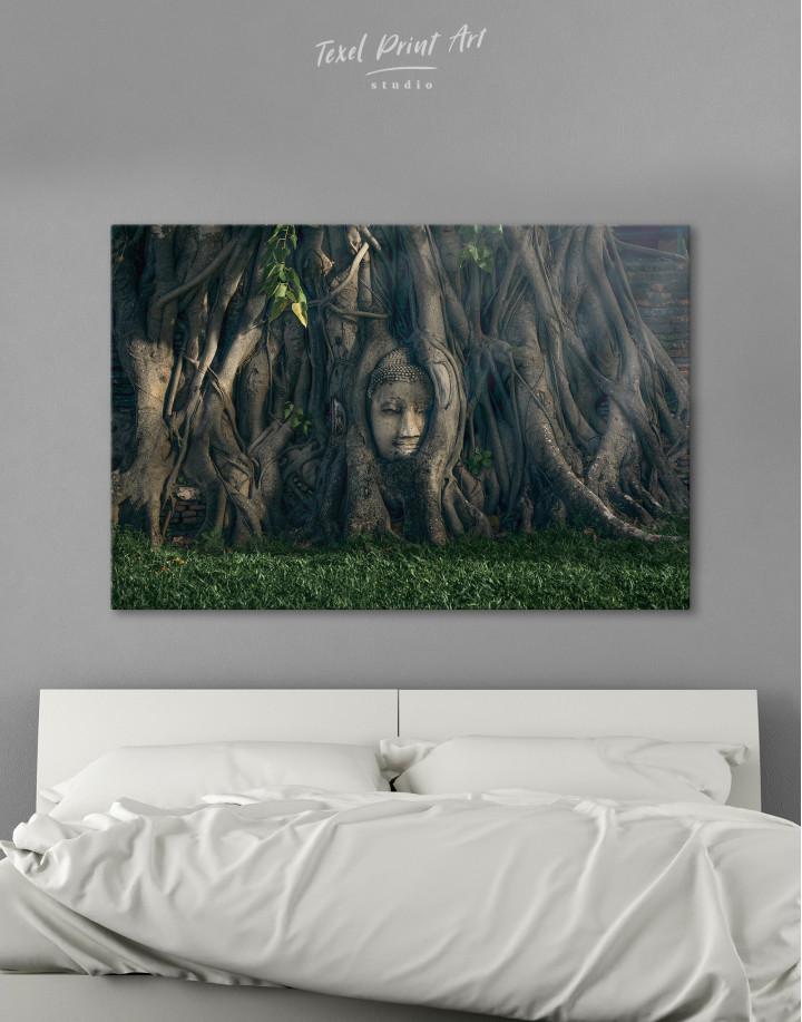 Ancient Buddha in Tree Canvas Wall Art