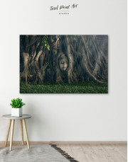 Ancient Buddha in Tree Canvas Wall Art - Image 7