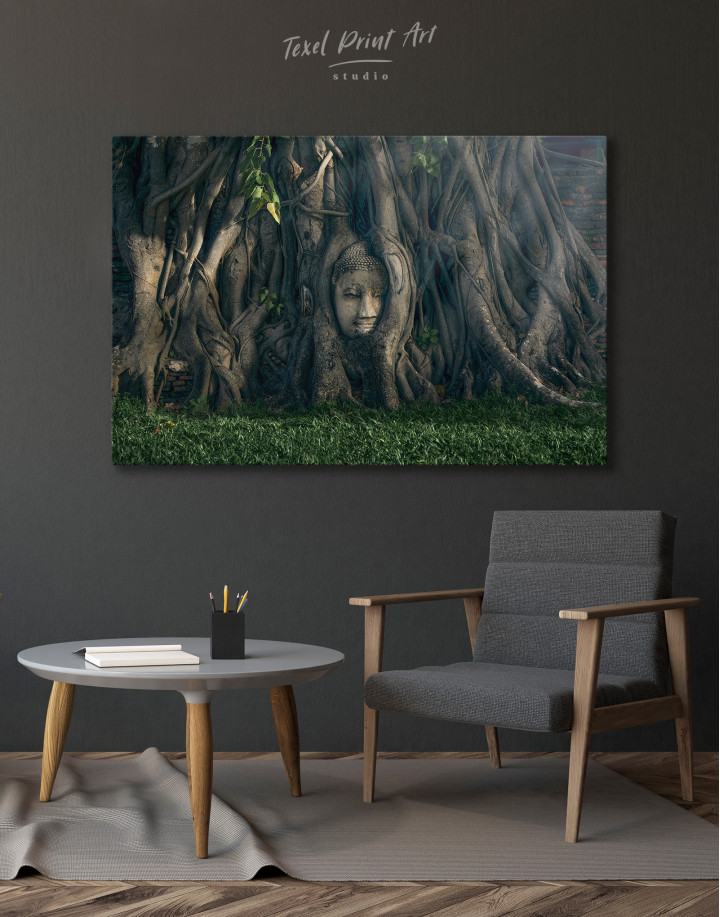 Ancient Buddha in Tree Canvas Wall Art - Image 4