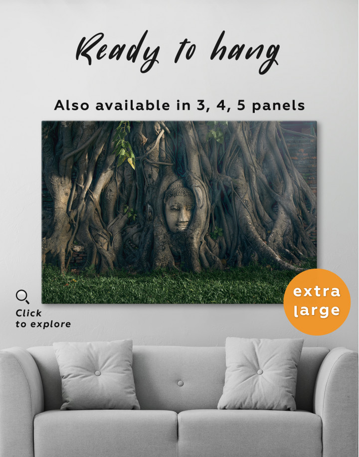 Ancient Buddha in Tree Canvas Wall Art - Image 5