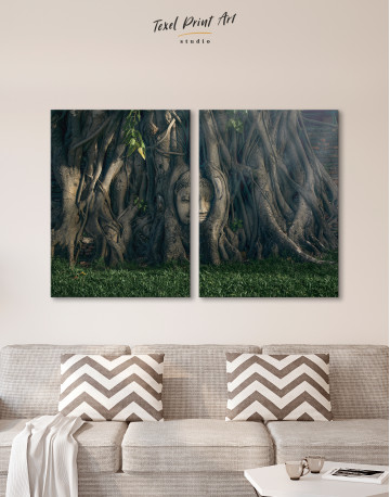 Ancient Buddha in Tree Canvas Wall Art - image 2