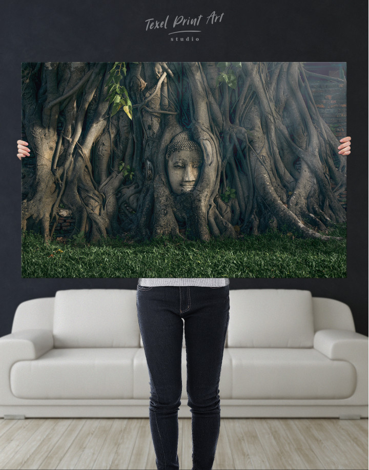 Ancient Buddha in Tree Canvas Wall Art - Image 10
