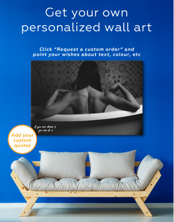 Black and White Naked Woman in Bath Canvas Wall Art - image 1