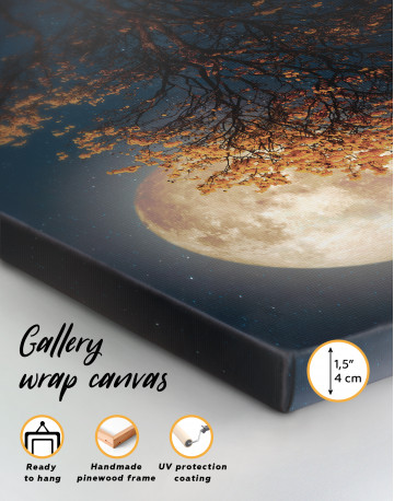 Beautiful Yellow Blossom With Full Moon Canvas Wall Art - image 5
