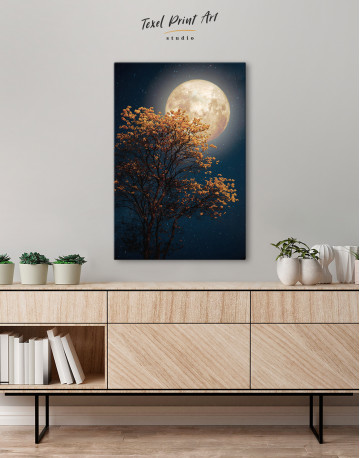 Beautiful Yellow Blossom With Full Moon Canvas Wall Art - image 1