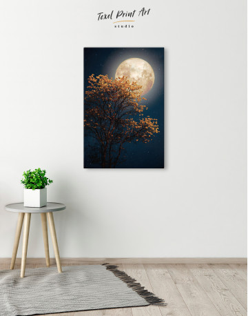Beautiful Yellow Blossom With Full Moon Canvas Wall Art - image 6