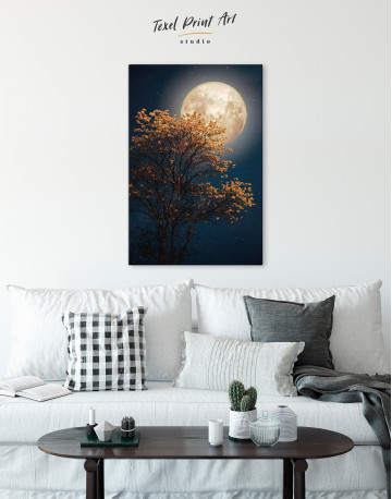 Beautiful Yellow Blossom With Full Moon Canvas Wall Art - image 3