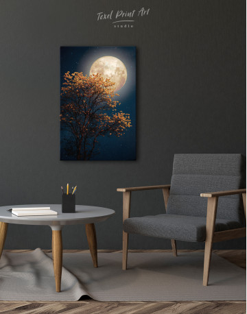 Beautiful Yellow Blossom With Full Moon Canvas Wall Art - image 2