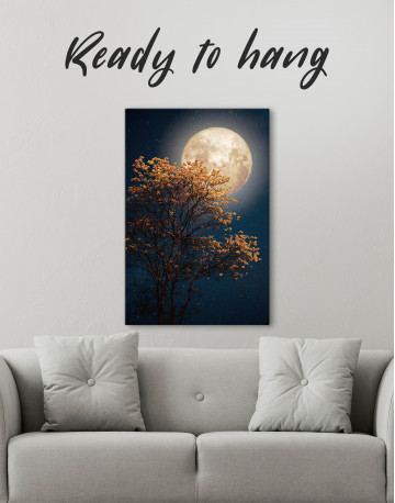 Beautiful Yellow Blossom With Full Moon Canvas Wall Art