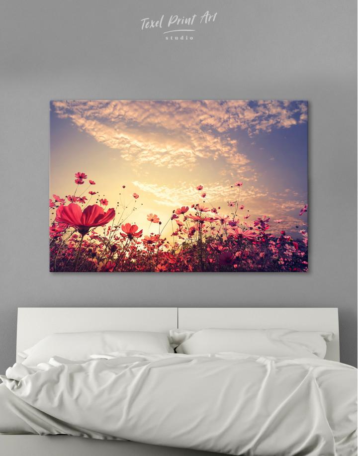Pink Field Flower Sunset Canvas Wall Art