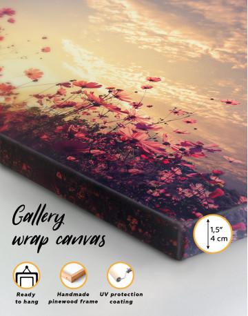 Pink Field Flower Sunset Canvas Wall Art - image 8