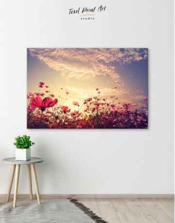 Pink Field Flower Sunset Canvas Wall Art - image 6