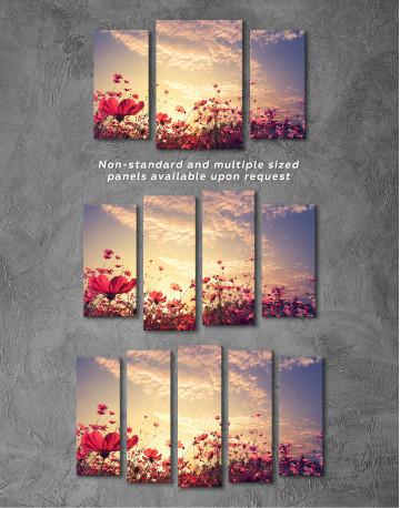 Pink Field Flower Sunset Canvas Wall Art - image 5