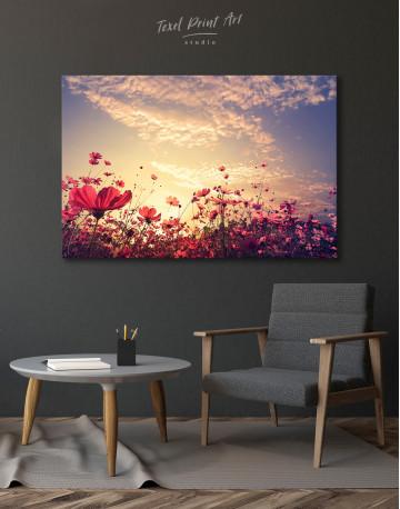Pink Field Flower Sunset Canvas Wall Art - image 4